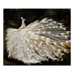 White Peacock Oil Painting Fine Art Canvas Print