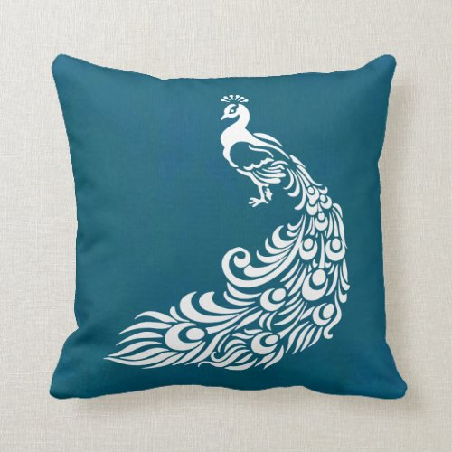 White Peacock on Teal Chic Stylish Art Deco Design Throw Pillow