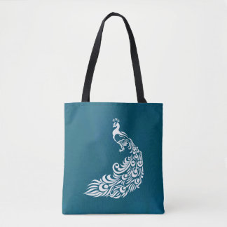 White Peacock on Teal Chic Stylish Art Deco Design Tote Bag