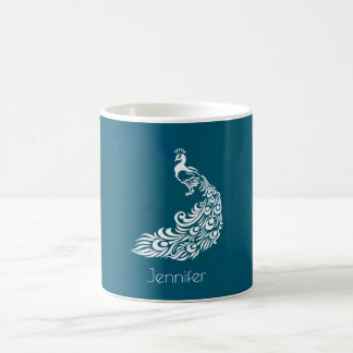 White Peacock on Teal Chic Stylish Personalized Coffee Mug