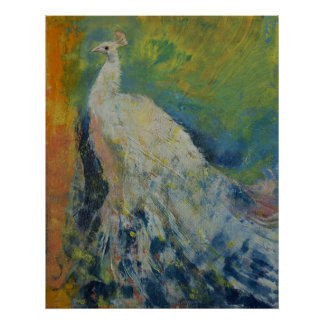 White Peacock Poster