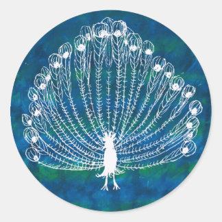 White Peacock Classic Round Sticker