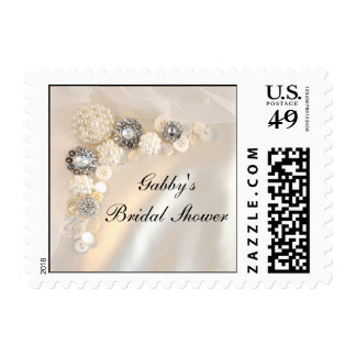 White Pearl and Diamond Buttons Bridal Shower Postage