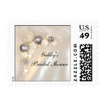 White Pearl and Diamond Buttons Bridal Shower Postage Stamp