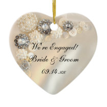 White Pearl and Diamond Buttons Engagement Ceramic Ornament