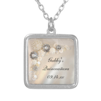 White Pearl and Diamond Buttons Quinceañera Silver Plated Necklace