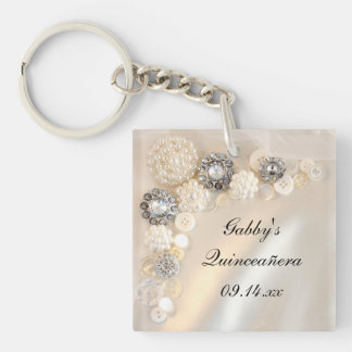 White Pearl and Diamond Buttons Quinceñera Keychain