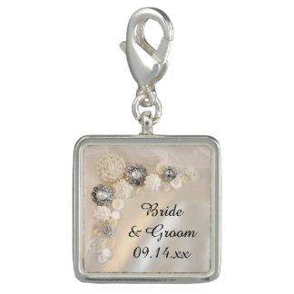 White Pearl and Diamond Buttons Wedding Charms