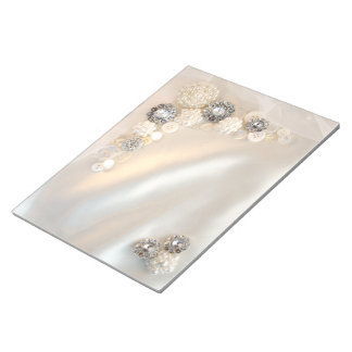 White Pearl and Diamond Buttons Wedding Notepad