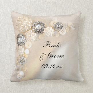 White Pearl and Diamond Buttons Wedding Throw Pillow