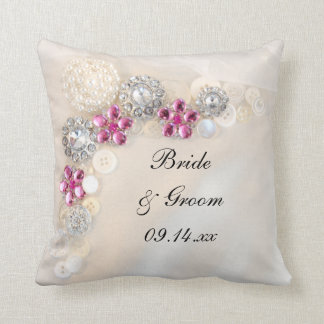 White Pearl and Pink Diamond Buttons Wedding Throw Pillow