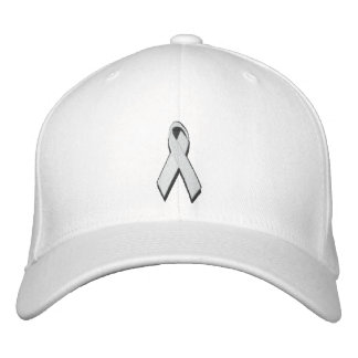 white/pearl awareness ribbon embroidered baseball hat