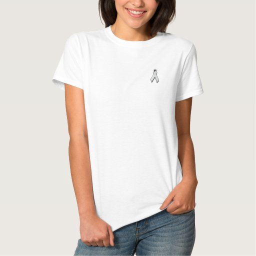 white/pearl awareness ribbon embroidered shirt