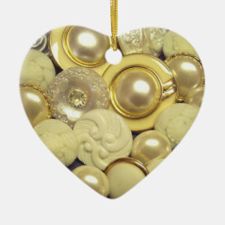 White Pearl Buttons Christmas Ornament