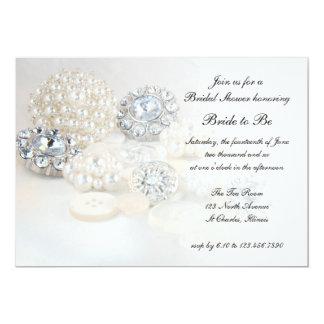 White Pearl Diamond Buttons Bridal Shower Invite