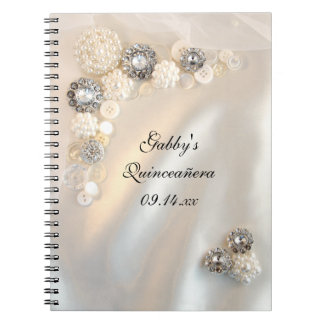 White Pearl Diamond Buttons Quinceañera Guest Book