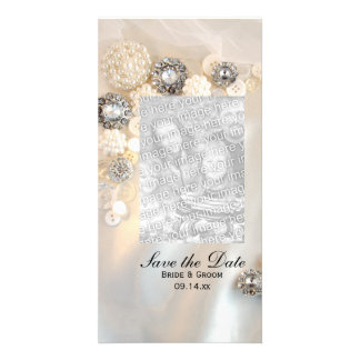 White Pearl Diamond Buttons Wedding Save the Date Card