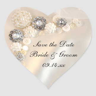 White Pearl Diamond Buttons Wedding Save the Date Heart Sticker