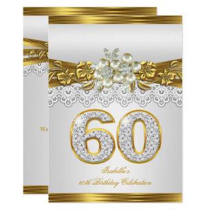60th birthday invitations zazzle white pearl gold lace floral 60th birthday party invitation filmwisefo