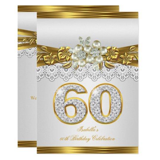 White Pearl Gold Lace Floral 60th Birthday Party Invitation Zazzle Com