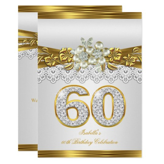 White pearl gold lace floral 60th birthday party invitation zazzle white pearl gold lace floral 60th birthday party invitation filmwisefo