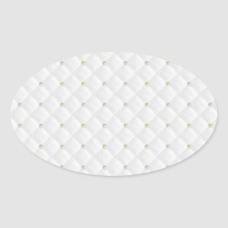 White Pearl Stud Quilted Oval Sticker