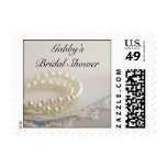 White Pearls and Blue Lace Bridal Shower Postage Stamp