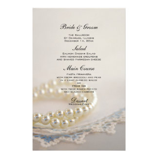 White Pearls and Blue Lace Wedding Menu Stationery