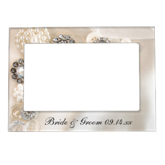 White Pearls and Diamond Buttons Wedding Magnetic Photo Frame