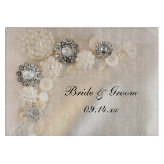 White Pearls and Diamonds Button Wedding Cutting Board