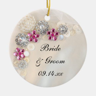 White Pearls and Pink Diamond Buttons Wedding Ceramic Ornament