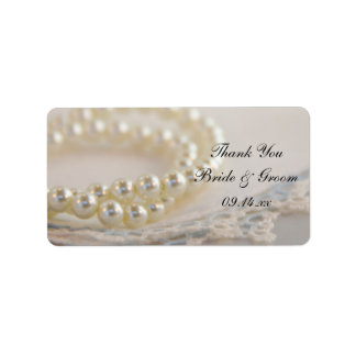 White Pearls Blue Lace Wedding Thank You Favor Tag