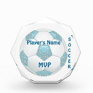 White Pearls on Aqua Soccer Ball Award