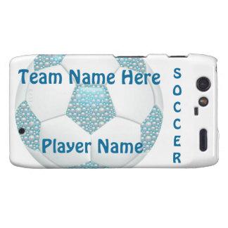 White Pearls on Aqua Soccer Ball Motorola Droid RAZR Covers
