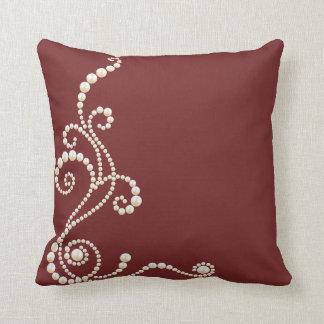 White Pearls on Maroon burgundy Throw Pillow
