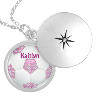 White Pearls on Pink Soccer Ball Round Locket Necklace