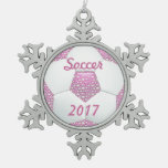 White Pearls on Pink Soccer Ball Snowflake Pewter Christmas Ornament