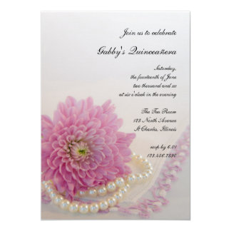 White Pearls Pink Lace Quinceañera Party Invite