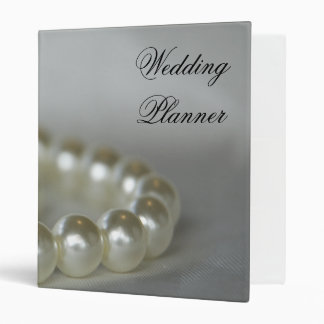 White Pearls Wedding Planner 3 Ring Binder