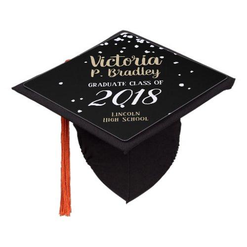 White Pebble Confetti _ Custom Graduation Cap Topper