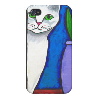 White Peeking Cat Cases For iPhone 4