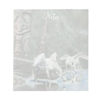 White Pegasi Drinking At River Fantasy Art Notepad