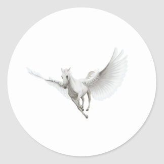 White Pegasus Classic Round Sticker