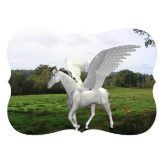 White Pegasus in a Field 5x7 Paper Invitation Card
