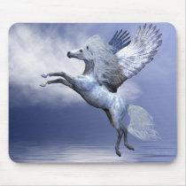 white, pegasus, wings, flight, fable, horse, magic, fantasy, fairytale, creature, myth, mythology, stallion, equine, equus, steed, animal, mount, wild, beast, beautiful, beauty, charger, ocean, sea, cloud, pegasi, Mouse pad com design gráfico personalizado