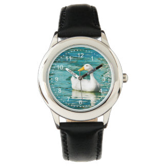 White Pekin Duck  - Nature Photo in Reflections Wristwatch