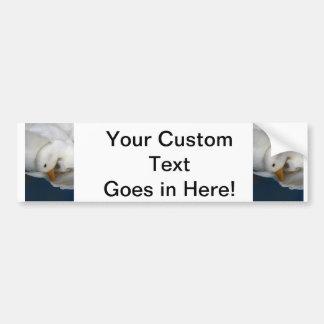 White Pekin Duck with head tucked under picture Car Bumper Sticker