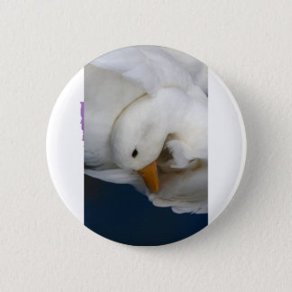 White Pekin Duck with head tucked under picture Button