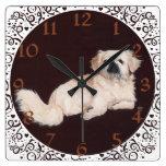 White Pekingese Clock