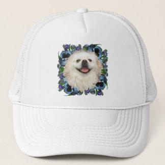 White Pekingese with Pansies Trucker Hat